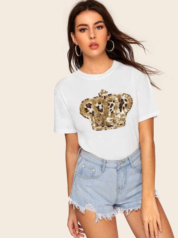 Contrast Sequin Leopard Patched Tee