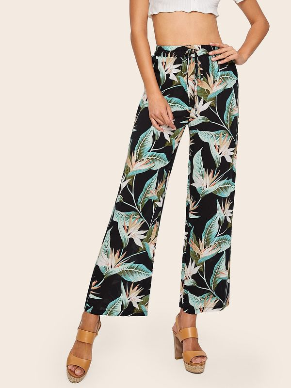 Tropical Print Drawstring Waist Pants