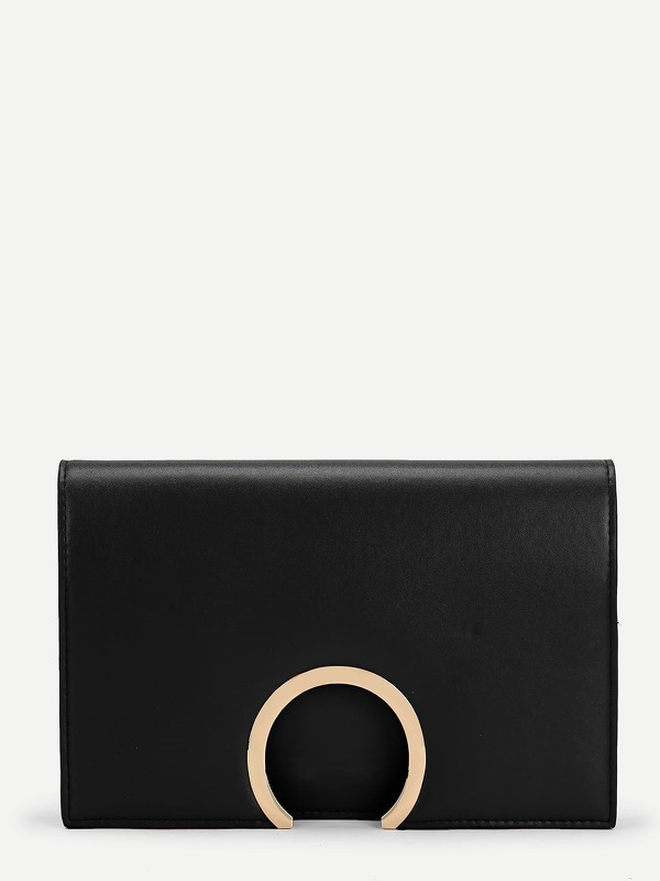Ring Detail Flap PU Clutch