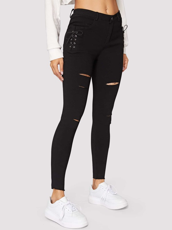 Button Waist Ripped Lace-up Side Jeans
