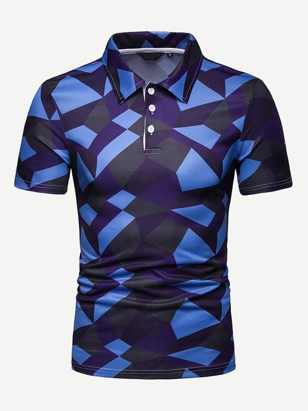 Men Geo Pattern Polo Shirt