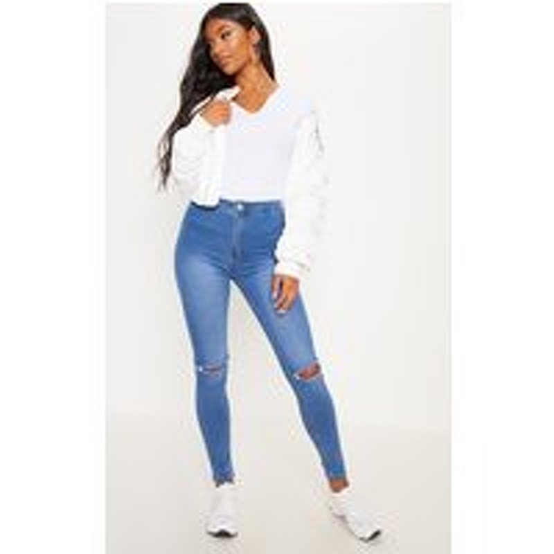 Mid Wash Knee Rip High Waisted Skinny Jean