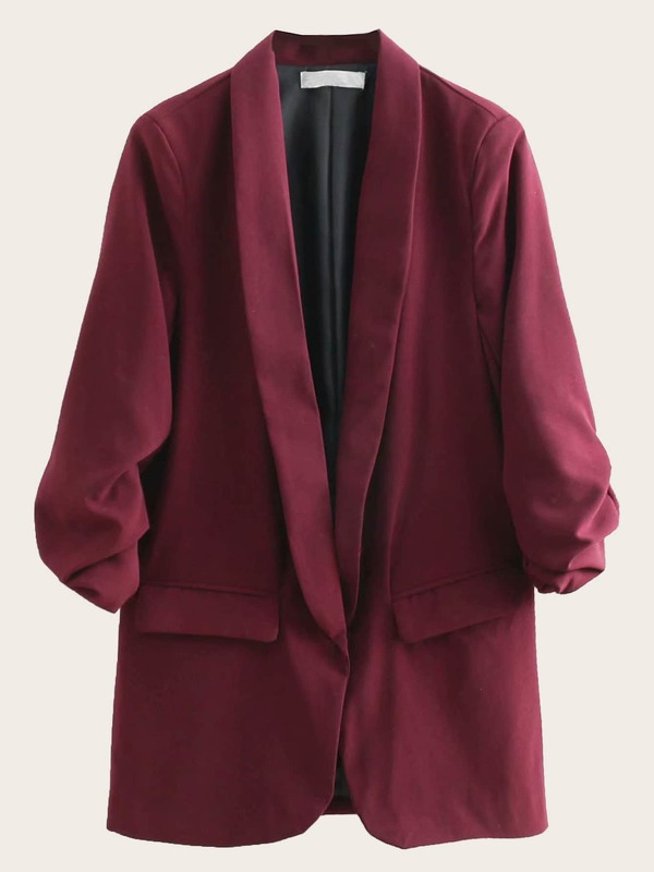 Ruched Sleeve Shawl Collar Solid Blazer
