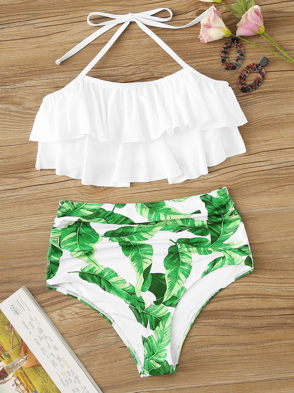 Layered Ruffle Top With Random Jungle Ruched Bikini