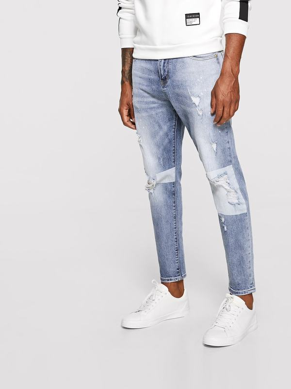 Men Paint Drip Print Ripped Jeans