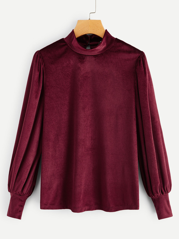High Neck Bishop Sleeve Velvet Top