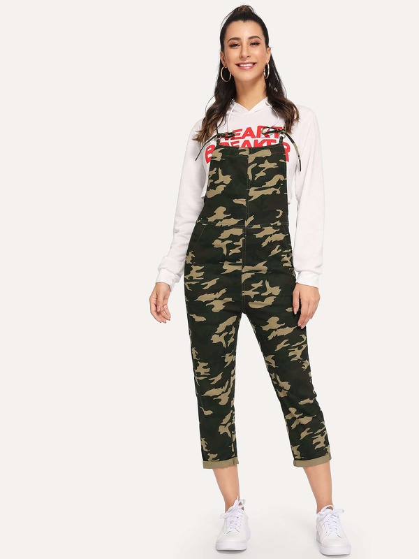 Camo Roll Up Denim Overalls