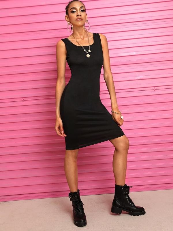 Solid Sleeveless Solid Dress