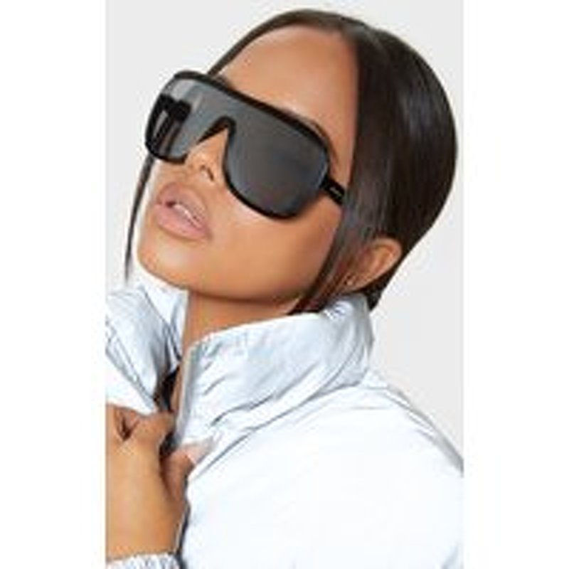 Silver Flat Top Matte Resin Frameless Sunglasses