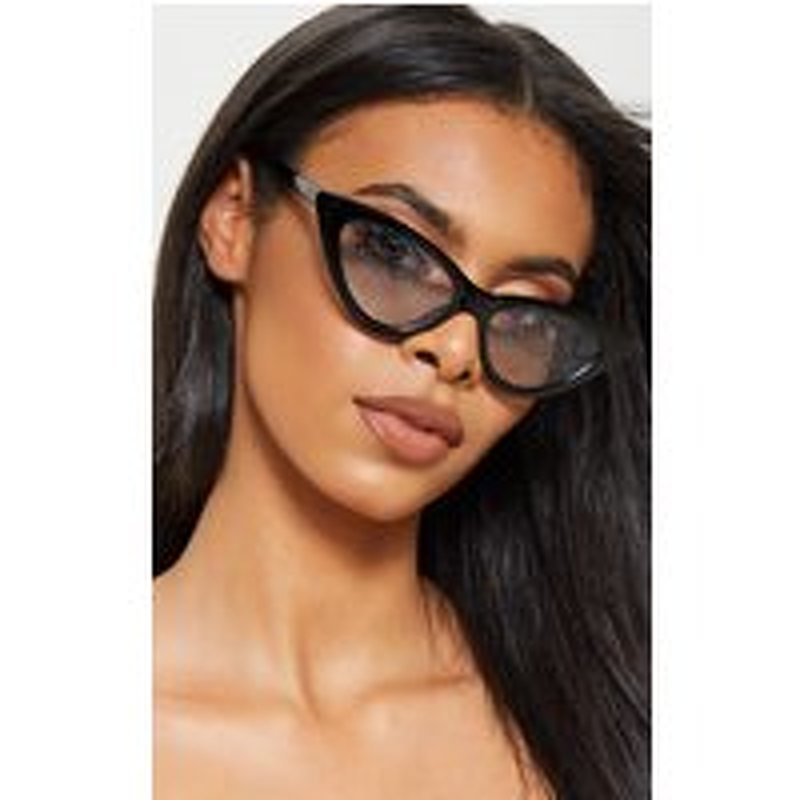 Black Cat Eye Frame Clear Glitter Lens Glasses