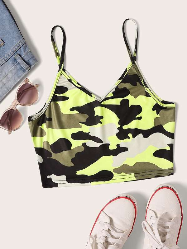 Camo Print Crop Cami Top