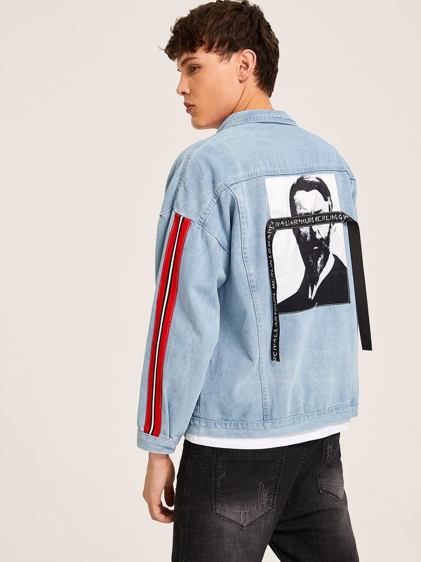 Men Figure Print Striped Side Letter Tape Denim Jacket