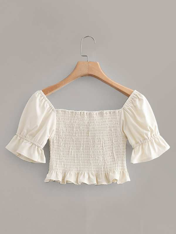 Knot Detail Frill Hem Shirred Blouse