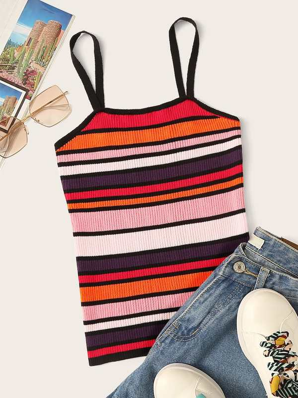 Rib-knit Colorful Striped Cami Top