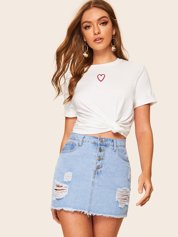 Embroidered Round Neck Tee