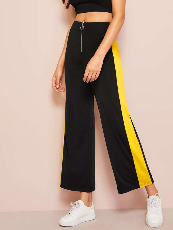 Contrast Panel O-ring Zip Front Pants