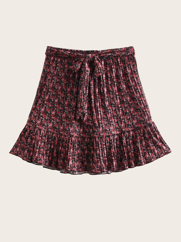 Tie Front Ditsy Floral Skirt