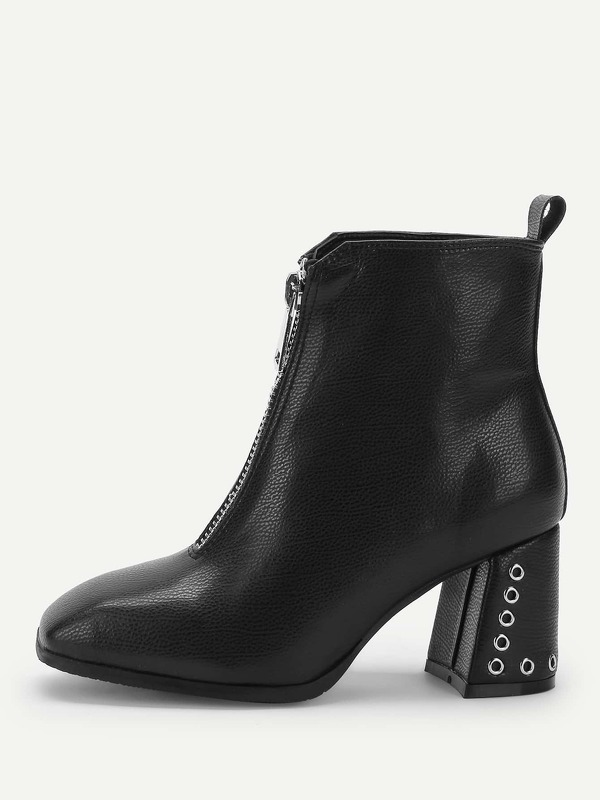Plain Front Zipper Boots