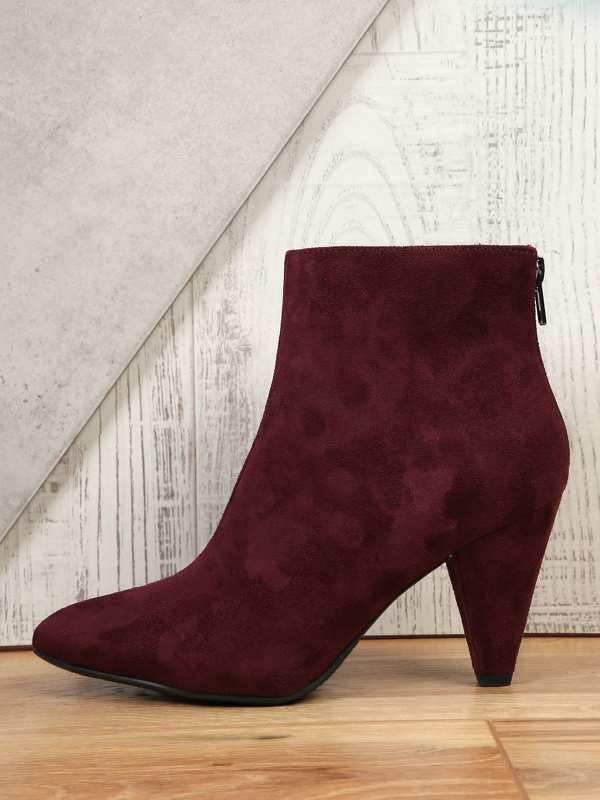 Cone Heel Pointy Toe Back Zip Ankle Boots