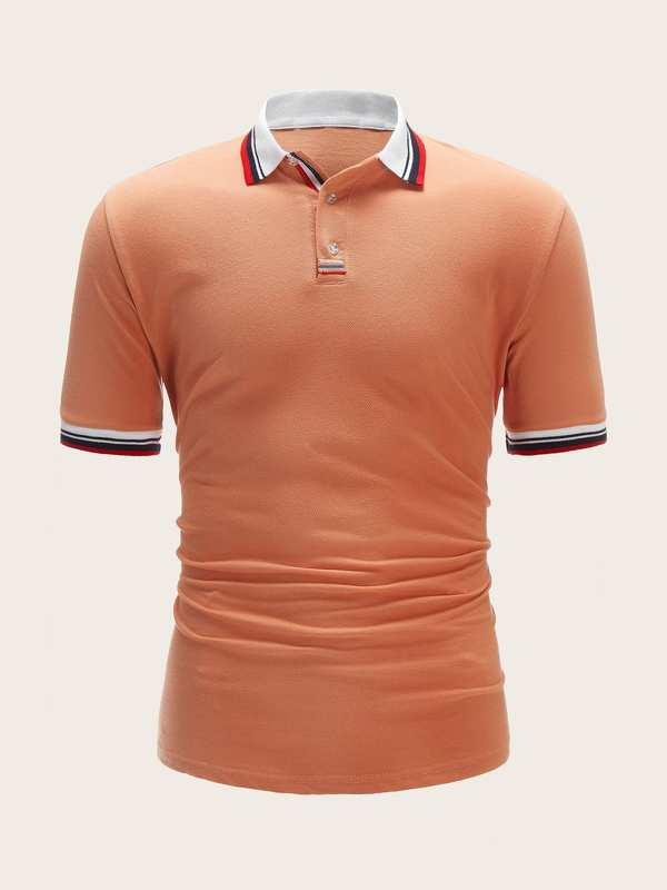 Men Striped Trim Polo Shirt