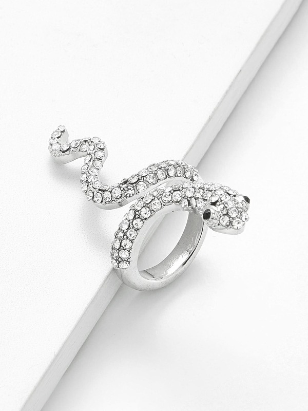 Rhinestone Snake Design Ring 1pc