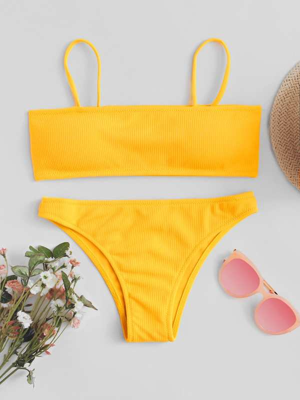 Cami Top With Ribbed Bikini Set