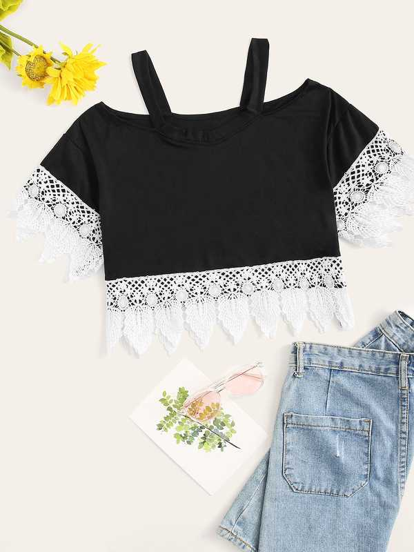 Lace Panel Open Shoulder Tee