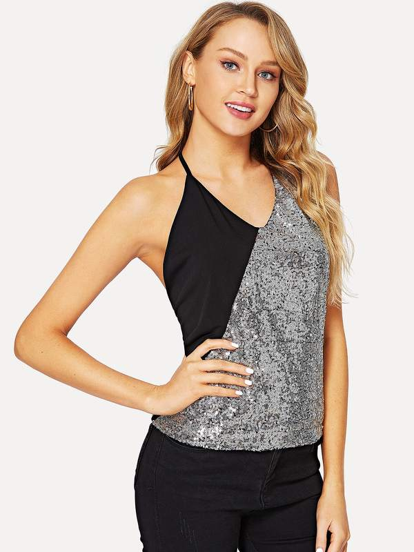 Two Tone Sequin Panel Cami Top