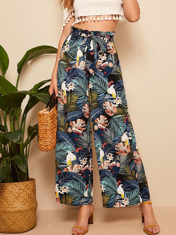 Belted Frilled Waist Tropical Print Palazzo Pants